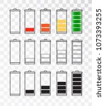 battery indicator icon set... | Shutterstock .eps vector #1073393255