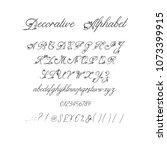 vector calligraphy alphabet.... | Shutterstock .eps vector #1073399915