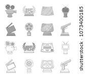 gold pistol  silver prize for...   Shutterstock .eps vector #1073400185