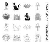 anubis  ankh  cairo citadel ... | Shutterstock .eps vector #1073401997