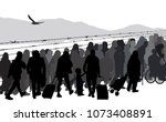 silhouettes of refugees people... | Shutterstock .eps vector #1073408891