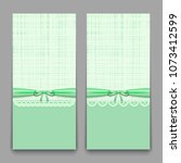 lacy green cards with ribbon... | Shutterstock .eps vector #1073412599