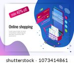 isometric smart phone online... | Shutterstock .eps vector #1073414861