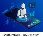 isometric science teacher bot... | Shutterstock . vector #1073415224