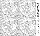 coloring zentangle art. outline ... | Shutterstock .eps vector #1073417567