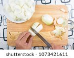 chef peeling and chop onion... | Shutterstock . vector #1073421611