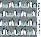 penguin seamless pattern.... | Shutterstock .eps vector #1073430554