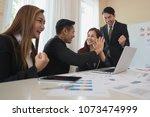 a group asian of business men... | Shutterstock . vector #1073474999