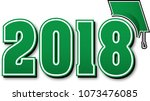 green 2018 with graduation cap | Shutterstock .eps vector #1073476085