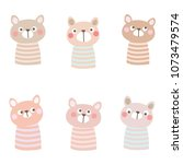 pattern with cute cartoon bear... | Shutterstock .eps vector #1073479574