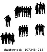 isolated silhouette of a crowd... | Shutterstock .eps vector #1073484215
