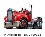 cartoon retro semi truck... | Shutterstock .eps vector #1073489111