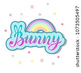 bunny with rainbow isolated on... | Shutterstock .eps vector #1073505497