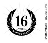 16 years anniversary. elegant... | Shutterstock .eps vector #1073518241