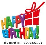 multi colored happy birthday... | Shutterstock .eps vector #1073532791