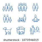 holiday travel set with icons... | Shutterstock .eps vector #1073546015