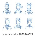 hotel staff icon set with the... | Shutterstock .eps vector #1073546021