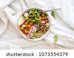 instagram vegan buddha bowl...   Shutterstock . vector #1073554379