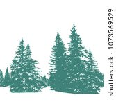 fir tree silhouettes forest... | Shutterstock .eps vector #1073569529