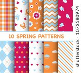 set of colorful spring patterns | Shutterstock .eps vector #1073580974