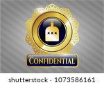 shiny badge with bottle of... | Shutterstock .eps vector #1073586161