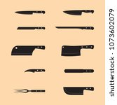 knife set silhouette vector and ... | Shutterstock .eps vector #1073602079