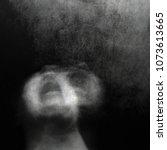 scream of horror. screaming... | Shutterstock . vector #1073613665