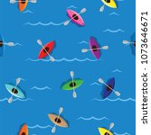 multicolored kayaks with... | Shutterstock .eps vector #1073646671
