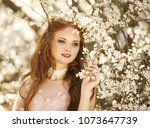 beautiful girl with red hair in ... | Shutterstock . vector #1073647739