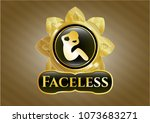 gold emblem or badge with... | Shutterstock .eps vector #1073683271