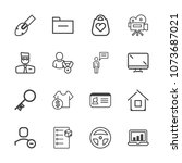 premium outline set of icons... | Shutterstock .eps vector #1073687021