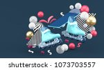 blue sroller skates and blue... | Shutterstock . vector #1073703557
