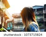 beautiful women travel on...   Shutterstock . vector #1073715824