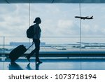airport travel  silhouette of... | Shutterstock . vector #1073718194