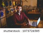 a young handsome caucasian man... | Shutterstock . vector #1073726585