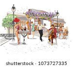 series of backgrounds decorated ... | Shutterstock .eps vector #1073727335