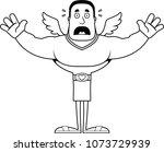 a cartoon cupid looking scared. | Shutterstock .eps vector #1073729939