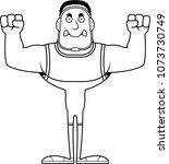 a cartoon wrestler looking... | Shutterstock .eps vector #1073730749