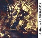 the huge combat robot explodes. ... | Shutterstock . vector #1073741015