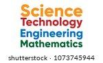 colorful stem typogrophy logo   Shutterstock .eps vector #1073745944