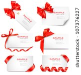 set of card note with red gift... | Shutterstock .eps vector #107376227