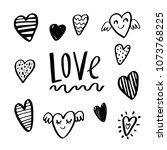 heart set  vector icons. hand... | Shutterstock .eps vector #1073768225