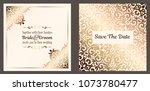 gold wedding invitation card... | Shutterstock .eps vector #1073780477