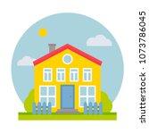 cottage house vector flat...   Shutterstock .eps vector #1073786045