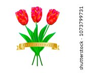 a bouquet of three tulips with... | Shutterstock .eps vector #1073799731