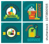 cleaning service emblems labels ... | Shutterstock .eps vector #1073800505