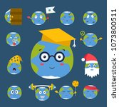 cartoon globe emotion planet... | Shutterstock .eps vector #1073800511