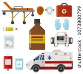 ambulance icons medicine health ... | Shutterstock .eps vector #1073800799