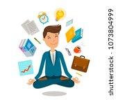 businessman sitting in lotus... | Shutterstock .eps vector #1073804999