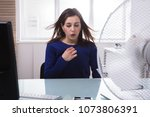 young businesswoman sitting on... | Shutterstock . vector #1073806391